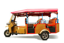 Tuk Tuk Isolated On White Background With Shadow Include Clipping Path.