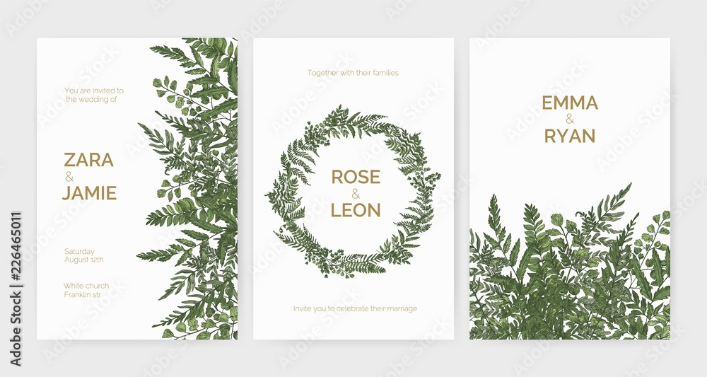 Fototapeta Bundle of elegant stylish wedding invitation templates decorated with green ferns and wild herbs on white background. Colorful hand drawn vector illustration in beautiful exquisite antique style.