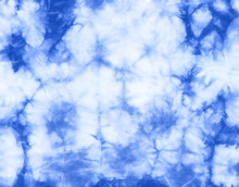 Abstract Tie Dyed Fabric Of Indigo Color On White Cotton. Hand Painted Fabrics. Shibori Dyeing
