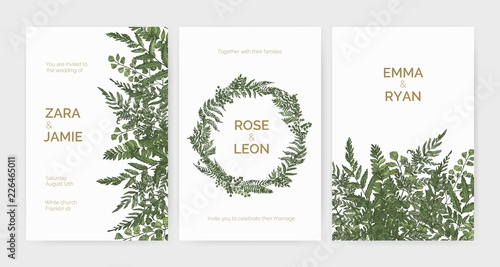 Fotografía  Bundle of elegant stylish wedding invitation templates decorated with green ferns and wild herbs on white background