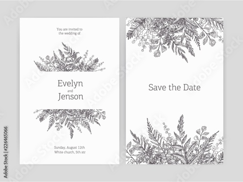 Set of floral wedding invitation and Save The Date card templates decorated with forest ferns and wild herbaceous plants drawn with contour lines on white background. Monochrome vector illustration.