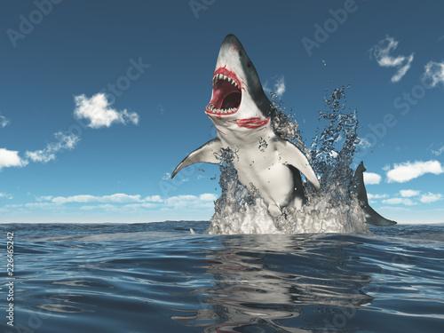 Photo  Weißer Hai springt aus dem Wasser