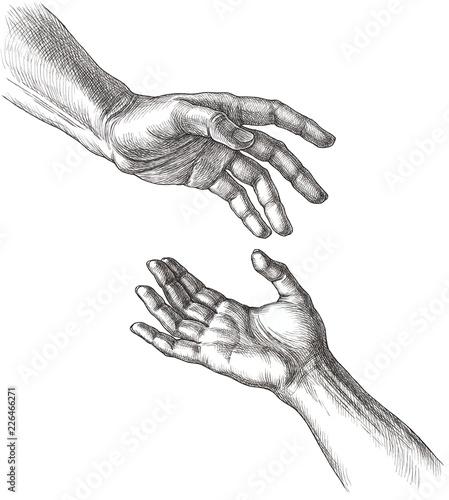 Fotografia  Мужская и женская руки, прикосновение. Рисунок тушью.