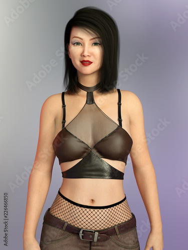44e57cea0fc Pretty Asian woman in sexy dress - Buy this stock illustration and ...