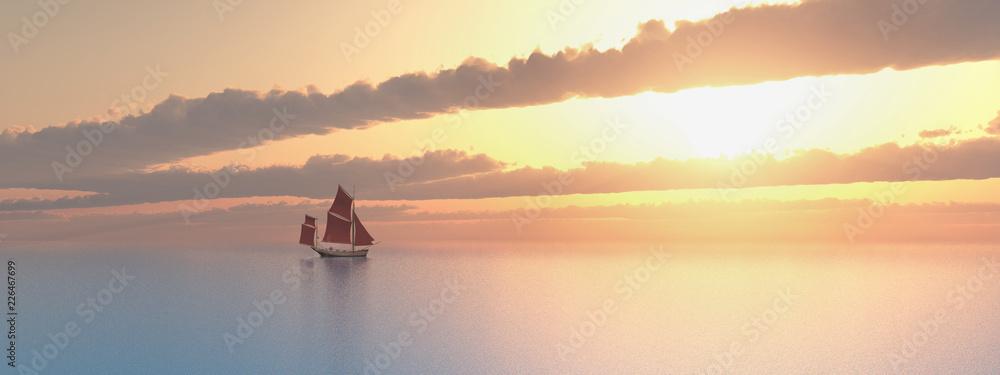 Fototapeta Segelboot in der Ferne