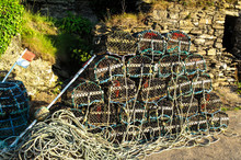 Fishing Lobster Crab Pots Stacked On Keyside