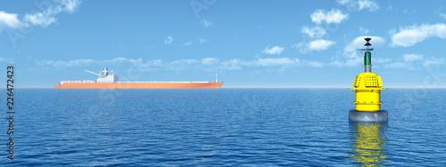 Valokuva  Frachtschiff und Boje im Meer
