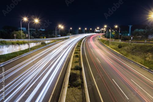 Autopista Nocturna Larga Exposicion Buy This Stock Photo And