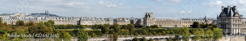 Fotografie, Obraz Large panoramic view of Paris from Musee d'Orsay rooftop with the Tuileries Gard