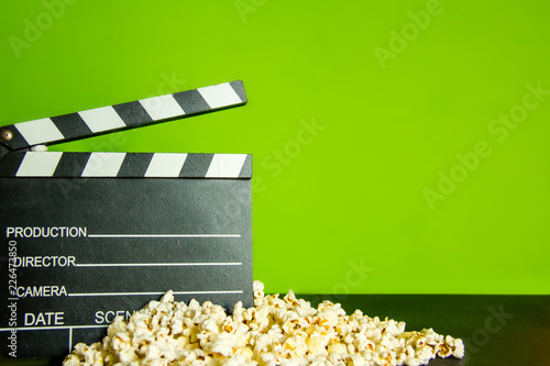 Popcorn And Clapperboard On Green Screen Background For Cinema Background Buy This Stock Photo And Explore Similar Images At Adobe Stock Adobe Stock