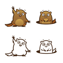 Vector Cartoon Style Groundhog Colorful And Outline Illustration Set