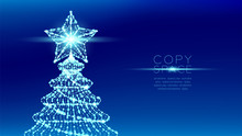 Christmas Tree With Star Wireframe Polygon Bokeh Light Frame Structure And Lens Flare, Technology Connection Concept Design Illustration Isolated On Blue Gradient Background With Copy Space