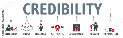 credibility building concept. Banner with keywords and vector illustration icons