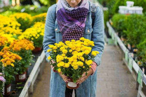 Foto op Canvas Bloemen Girl buying yellow Chrysanthemum in garden flower plant shop.