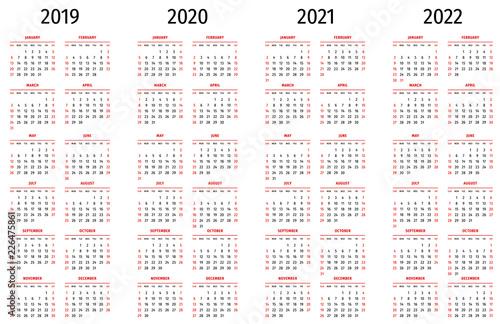 Fotografia  Simple calendar 2019, 2020, 2021, 2022