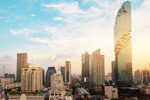 Bangkok city sunset Thailand skyline