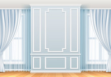 Classic Interior. White Wall With Moulding Frames And Window. Home Room Vintage Vector Decoration. Interior Molding Wall Elegance Background Illustration