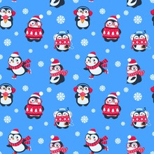 Penguins Seamless Pattern. Cute Christmas Package With Funny Baby Penguin. Winter Holiday Vector Textile Background. Christmas Pattern With Baby Cute Penguin Illustration