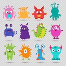 Cute Cartoon Baby Monsters Vec...