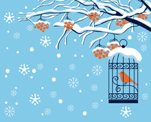 Vector Winter Landscape With Snow-covered Branches, And Red Clusters Of Rowan Tree. Red Bird In A Cage Hung On A Branch In A Flat Style