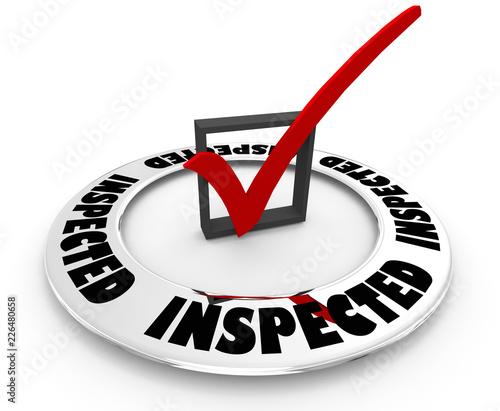 Inspected Approved Inspection Pass Check Mark Box Word 3d Illustration Fototapeta