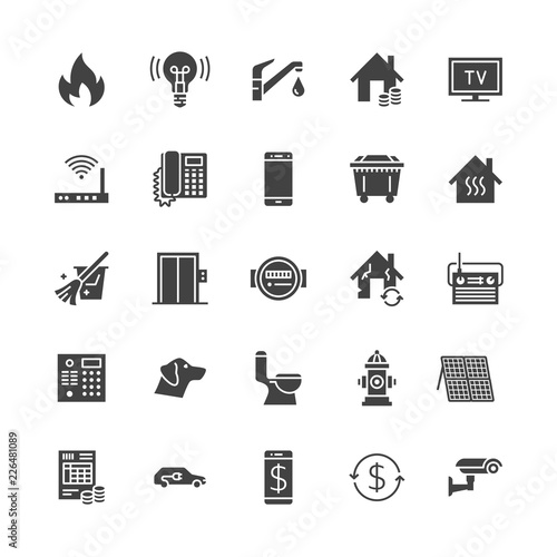 Public utilities flat glyph icons. Rent receipt, electricity water, gas, house heating, CCTV, overhaul, garbage vector illustrations. Signs for utility invoice. Solid silhouette pixel perfect 64x64. Wall mural