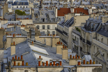 Fototapeta Paryż The roofs of Paris and its chimneys under a clouds sky