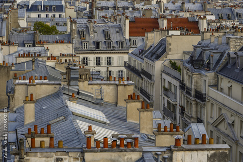 Fototapeta The roofs of Paris and its chimneys under a clouds sky obraz