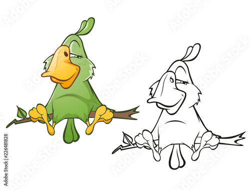 Staande foto Babykamer Illustration of a Cute Green Parrot. Cartoon Character. Outline