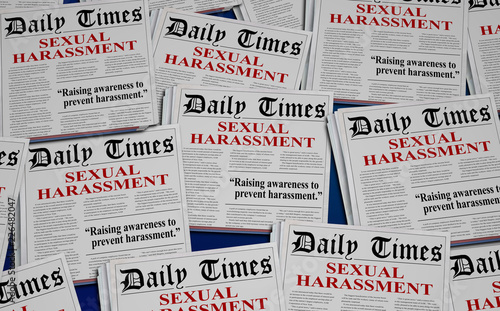 Sexual Harassment Awareness #metoo Newspaper Headlines 3d Illustration Canvas Print