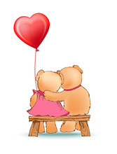 Couple Of Bears Sits On Bench With Red Balloon