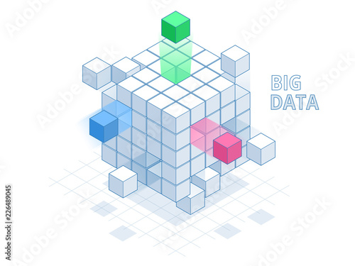 Photographie Isometric Abstract Big Data Cube, Box Data