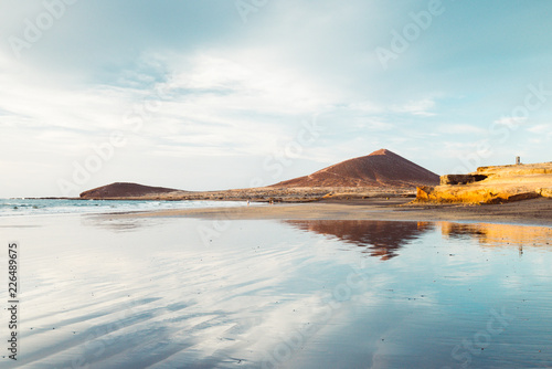 Tuinposter Canarische Eilanden El Médano, Tenerife, Canary Islands, Spain - September 28, 2018: El Médano beach, in south of Tenerife island