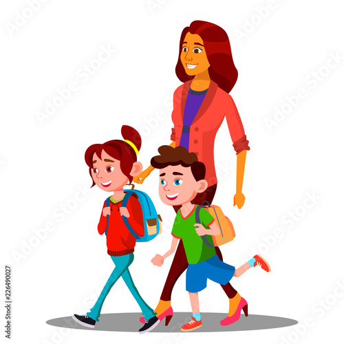 Printed kitchen splashbacks Knights Mother Walking To School With Children In New School Year Vector. Isolated Illustration