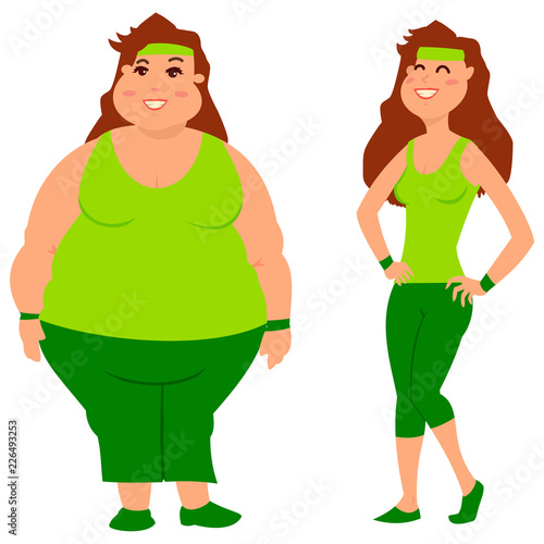 Fat And Slim Woman Before And After Weight Loss Diet Sport And Fitness Cartoon Vector Illustration On A White Background Buy This Stock Vector And Explore Similar Vectors At Adobe Stock