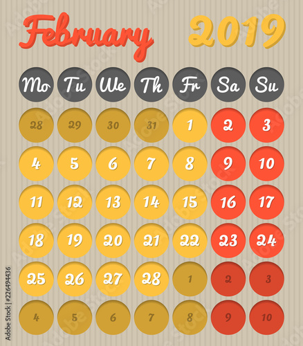 February 2019 Calendar That You Can Color Modern month planning calendar in English for February 2019