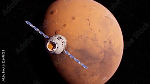 Cuadros en Lienzo 3d rendered medically accurate illustration of a satelite infront of mars