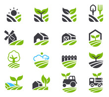 Green Fields Icon. Agricultura...