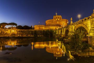 Fototapeta Castel Sant'Angelo at sunset in Rome, Italy