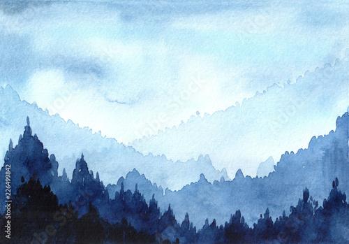zimowy-las-i-gory-recznie-malowane