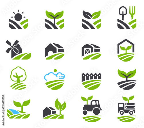 Green fields icon. Agricultural non-chemical farming and friendly environment. Fototapete