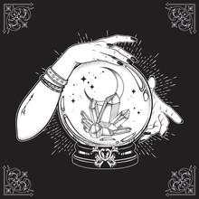 Hand Drawn Magic Crystal Ball ...