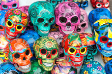 Decorated Colorful Skulls, Day Of Dead, Mexico