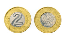 Old Used Polish Two Zloty Coin...