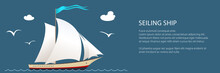 Yacht On The Waves Banner, Sailing Vessel At Sea And Text, Travel Concept , Vector Illustration