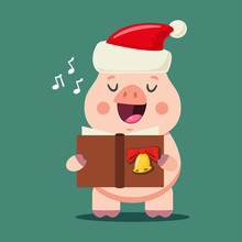 Funny Pig In Santa Claus Hat Singing Christmas Carols. Vector Cartoon Animal Character Isolated On Background. Symbol Of The 2019 Chinese New Year.