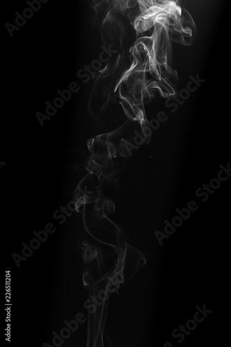 Fotobehang Rook Movement of white smoke on black background