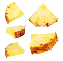 Set Of Pineapple Slices On A W...