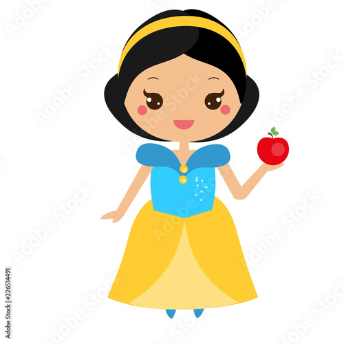 Snow White. Cute fairy tale character in kawaii style. Fotomurales