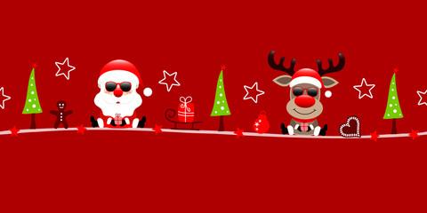 Obraz na Plexi Christmas Santa & Rudolph Sunglasses Symbols Red